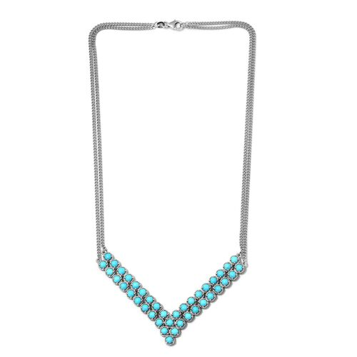 Arizona Sleeping Beauty Turquoise (Rnd) V Necklace (Size 18) in Platinum Overlay Sterling Silver 11.00 Ct, Silver wt 23.75 Gms