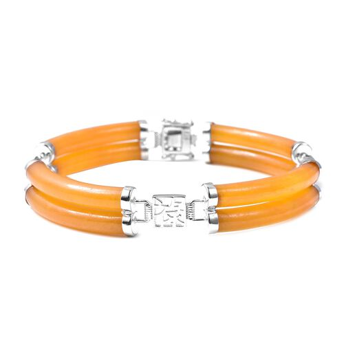 85.15 Ct Honey Jade and Citrine Station Bracelet in Rhodium Plated Silver 7.25 Inch