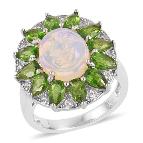 Smiling Face Carved Ethiopian Opal (Ovl 2.25 Ct), Russian Diopside and Natural White Cambodian Zircon Ring in Rhodium Plated Sterling Silver 4.950 Ct.