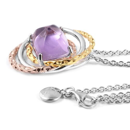 Limited Edition-RACHEL GALLEY Sugarloaf Cut Zambian Amethyst Allegro Pendant with Chain (Size 30) in Tri Colour Overlay Sterling Silver 10.460 Ct, Silver wt 12.33 Gms.