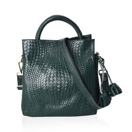100% Genuine Leather Woven Pattern Crossbody Bag with Detachable Shoulder Strap (Size 26x25x15 Cm) -