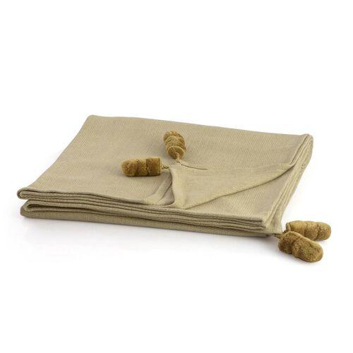 Beige Colour Plaid with Golden Tassels (Size 145x125 Cm)