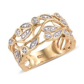 Designer Inspired - Diamond (Rnd) Ring in 14K Gold and Platinum Overlay Sterling Silver, Silver wt 3.28 Gms.
