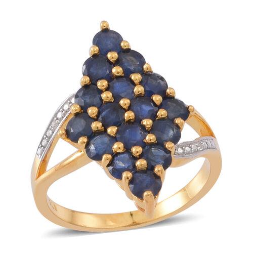 Kanchanaburi Blue Sapphire (Rnd), Natural Cambodian Zircon Ring in 14K Gold Overlay Sterling Silver 3.750 Ct.