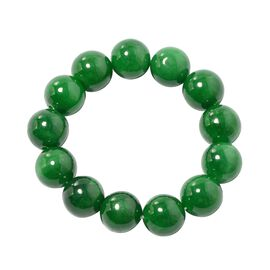 Very Rare AAA Burmese Green Jade Stretchable Bracelet (Size 7) (Rnd 15 mm)