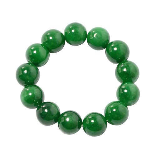 Very Rare AAA Burmese Green Jade Stretchable Bracelet (Size 7) (Rnd 15 mm)