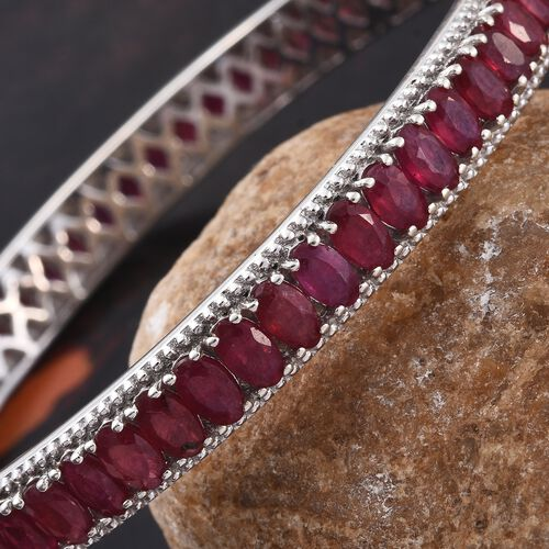 Designer Inspired- African Ruby (Ovl) Bangle (Size 7 / Medium) in Platinum Overlay Sterling Silver 20.750 Ct. Silver wt 14.85 Gms.