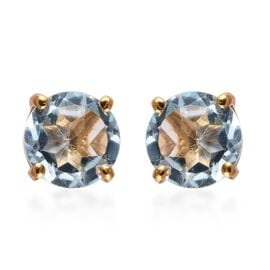 Sky Blue Topaz (Rnd) Stud Earrings (with Push Back) in 14K Gold Overlay Sterling Silver 3.000 Ct.