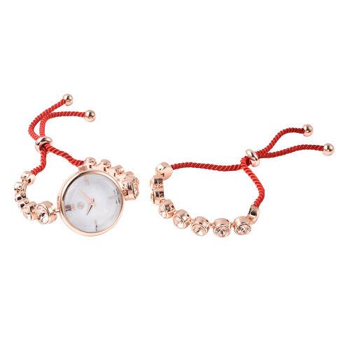 2 Piece Set - GENOA Japanese Movement Champagne Swarovski Crystal Studded Water Resistant Bracelet W