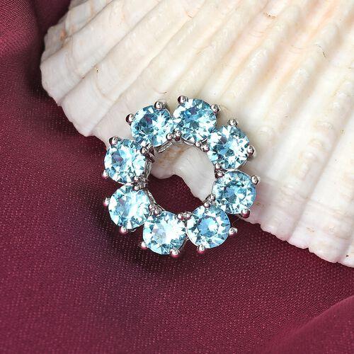 J Francis Crystal from Swarovski Aquamarine Colour Crystal Circle Pendant in Platinum Tone