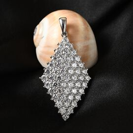 J Francis Platinum Overlay Sterling Silver Cluster Pendant Made with SWAROVSKI ZIRCONIA 9.95 Ct.