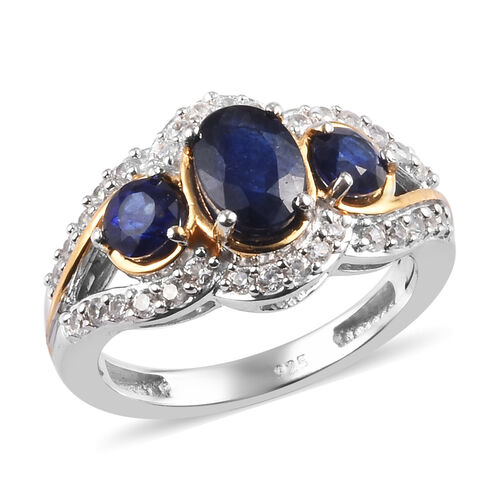 Masoala Sapphire and Natural Cambodian Zircon Ring in Platinum and Yellow Gold Overlay Sterling Silv