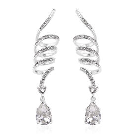 J Francis Swarovski Crystal Dangle Earrings in Rhodium Plated Sterling Silver