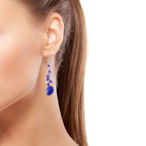 Blue, White and Purple Quartzite and Boi Ploi Black Spinel Hook Earrings in Platinum Overlay Sterling Silver 31.510 Ct.