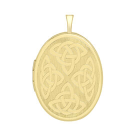 9K Yellow Gold Oval Celtic Locket Pendant, Gold wt 2.40 Gms