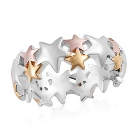 Platinum, Yellow and Rose Gold Overlay Sterling Silver Star Band Ring, Silver wt 4.06 Gms