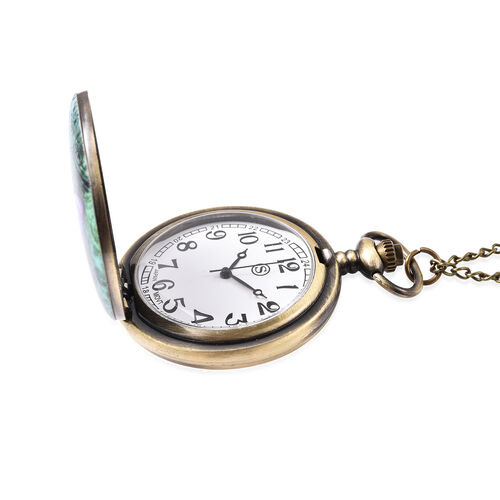 STRADA Japanese Movement Butterfly Pattern Pocket Watch with Chain (Size 31) in Antique Bronze Tone