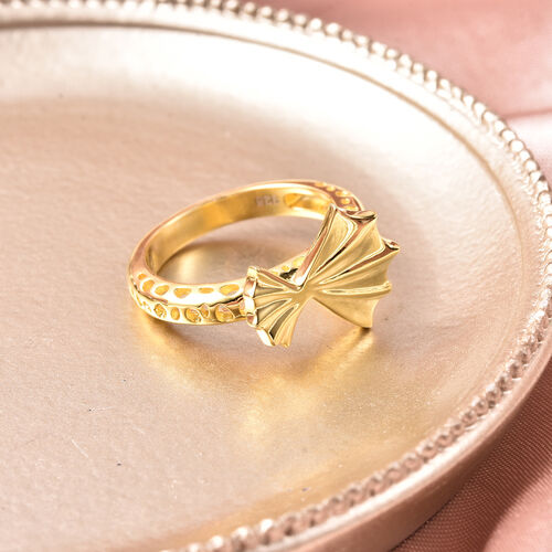 RACHEL GALLEY - Yellow Gold Overlay Sterling Silver Latticework and Ginkgo Leaf Ring