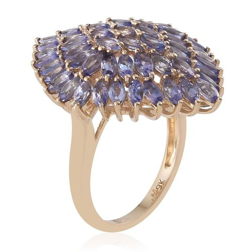 9K Yellow Gold AA Tanzanite (Mrq) Cluster Ring 4.000 Ct.