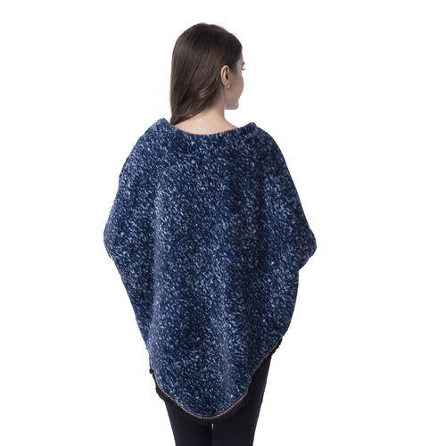 Navy Blue Colour Faux Fur Poncho (Size 82x75 Cm)
