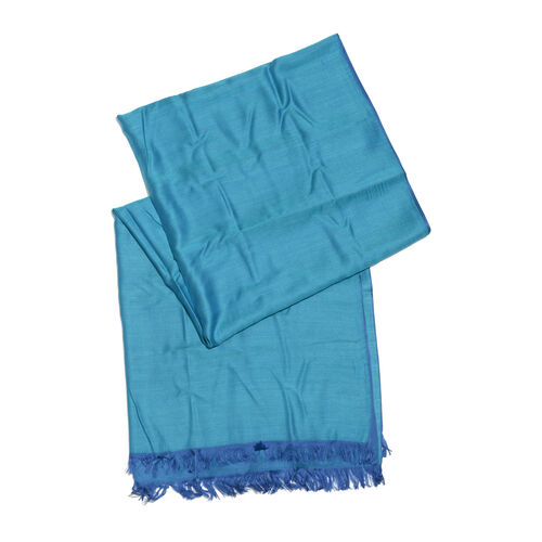 Blue and Purple Colour Reversible Scarf with Fringes (Size 200X70 Cm)