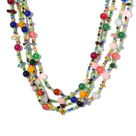 Multi Gemstones Beads Necklace (Size 20) in Platinum Overlay Sterling Silver 184.25 Ct