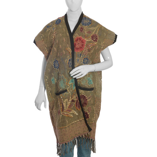 Floral Pattern Brown and Multi Colour Lily Kimono (Size 90x65 Cm)