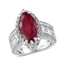 African Ruby (Mrq 5.80 Ct), White Topaz Ring (Size O) in Platinum Overlay Sterling Silver 8.500 Ct.