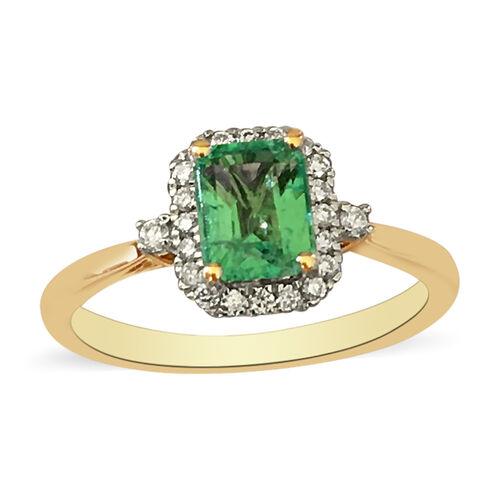 ILIANA 18K Yellow Gold AAA Boyaca Colombian Emerald and Diamond (SI/G-H) Ring 1.32 Ct, Gold wt. 3.22