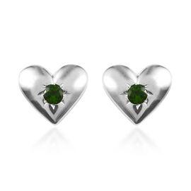 Russian Diopside (Rnd) Heart Stud Earrings in Platinum Overlay Sterling Silver