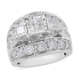 NY Close Out 14K White Gold SGL Certified Diamond (Sqr and Rnd) (I1-I2/G-H) Ring 4.000 Ct., Gold Wt.