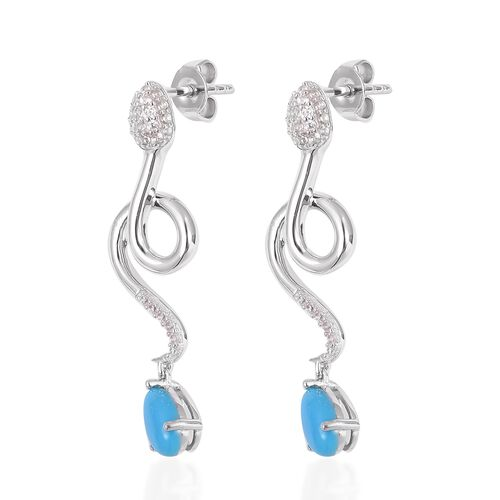 Arizona Sleeping Beauty Turquoise (Pear), Natural White Cambodian Zircon Snake Earrings (with Push Back) in Rhodium Overlay Sterling Silver 2.220 Ct.