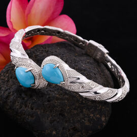 Royal Bali Collection - Arizona Sleeping Beauty Turquoise Bypass Bangle in Sterling Silver 12.00 ct, Silver wt 34.00 Gms