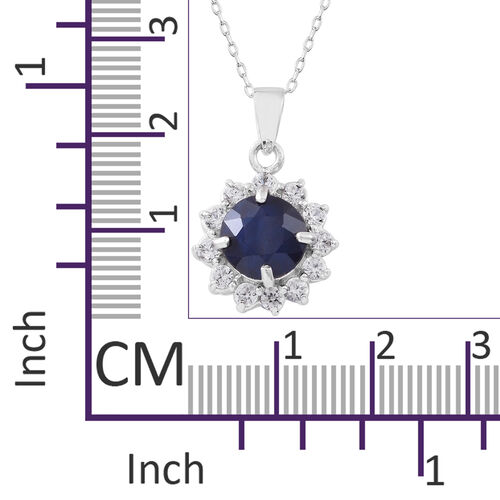 Rare Size Madagascar Blue Sapphire (Rnd 3.25 Ct), Natural White Cambodian Zircon Flower Pendant with Chain in Rhodium Plated Sterling Silver 4.500 Ct.
