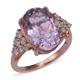 Rose De France Amethyst (Ovl 8.36 Ct), Natural White Cambodian Zircon Ring in Rose Gold Overlay Ster