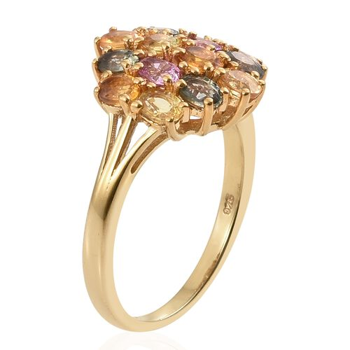 3.25 Ct Rainbow Sapphire Cluster Ring in Gold Plated Silver