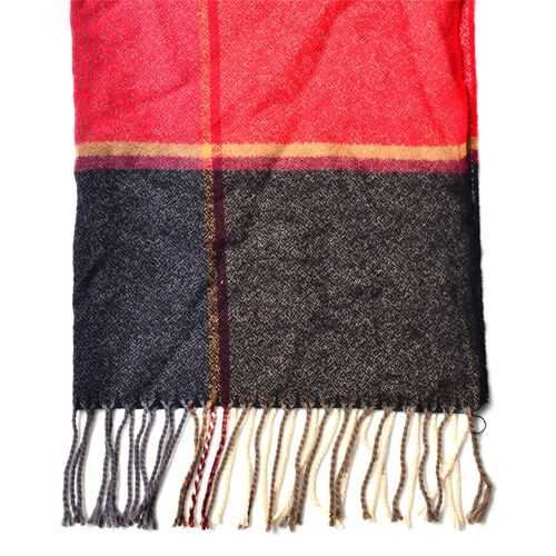 Grey, Red, Black and Chocolate Colour Scarf with Long Tassels (Size 180x65 Cm)