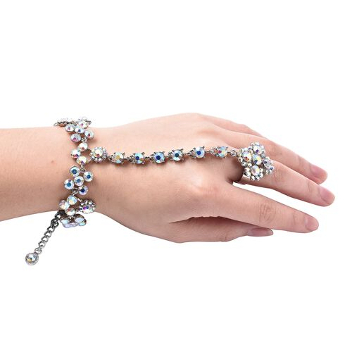(Option 1) Simulated Mystic White Crystal (Rnd) Bracelet (Size 6.5 with 3 inch Extender) with Attached Ring in Silver Tone