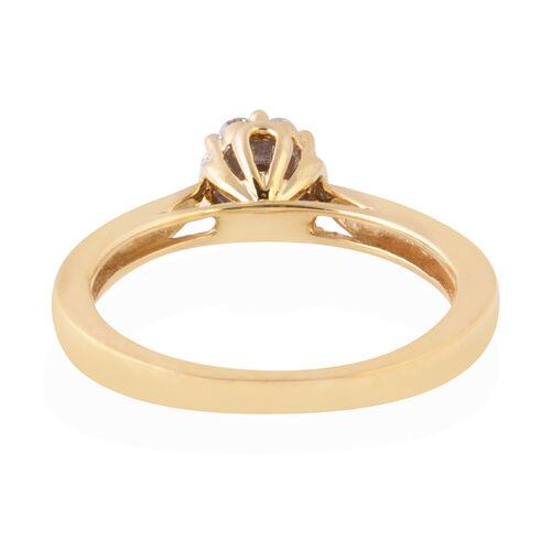 New York Close Out - 9K Yellow Gold Diamond (I2/G-H) (Rnd), Kanchanaburi Blue Sapphire Ring 0.250 Ct.