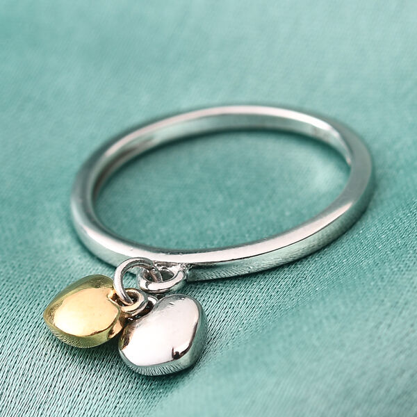 Platinum and Yellow Gold Overlay Sterling Silver Double Heart Ring