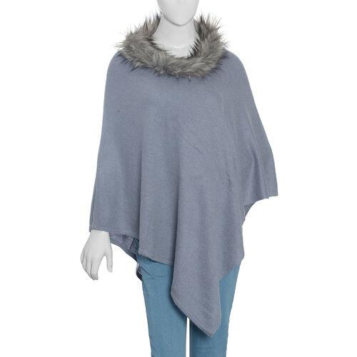 100% Pashmina Wool Grey Colour Poncho Size 70x70 Cm