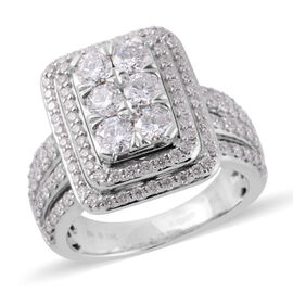 New York Close Out Diamond ( I1/I2 G-H) 14K W Gold Ring  2.000  Ct.Gold Wt 10.50 Gms