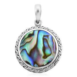 Royal Bali Collection - Abalone Shell Pendant in Sterling Silver, Silver wt. 3.50 Gms