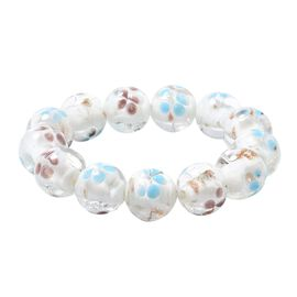 Millefiori Collection White Colour Murano Style Glass Stretchable Beaded Bracelet 7 Inch