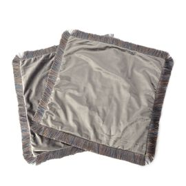 Luxury Edition - Set of 2 Extremely Soft Decorative Cushion Covers with Trimming in Dark Grey Colour (Size 45x45 Cm)