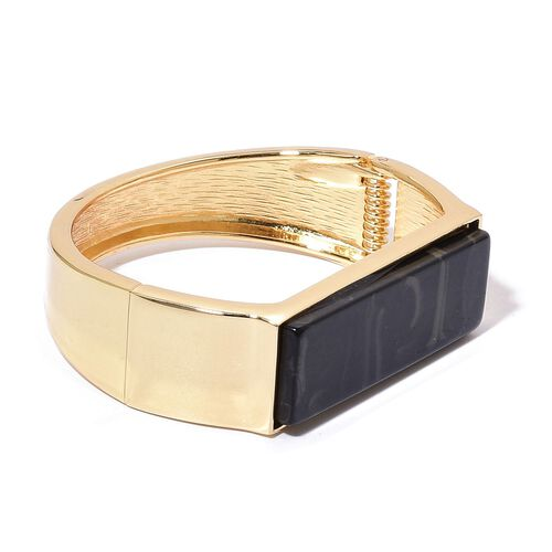 Simulated Black Spinel Bangle (Size 7) in Yellow Gold Tone