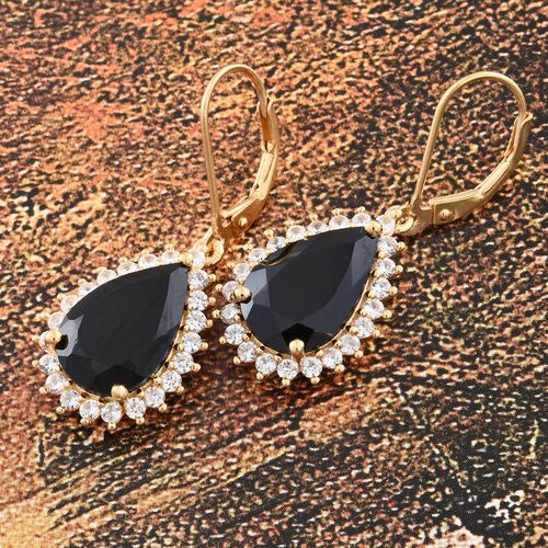 Boi Ploi Black Spinel (Pear), Natural Cambodian Zircon Lever Back Earrings in 14K Gold Overlay Sterling Silver 11.500 Ct.