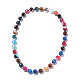 Multi Agate (Rnd 11-13mm) Beads Necklace (Size 20) in Stainless Steel 422.50 Ct.