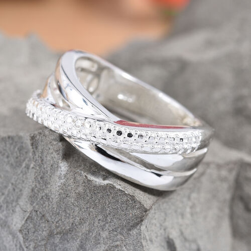Diamond (Rnd) Crossover Ring in Sterling Silver, Silver wt 4.11 Gms.