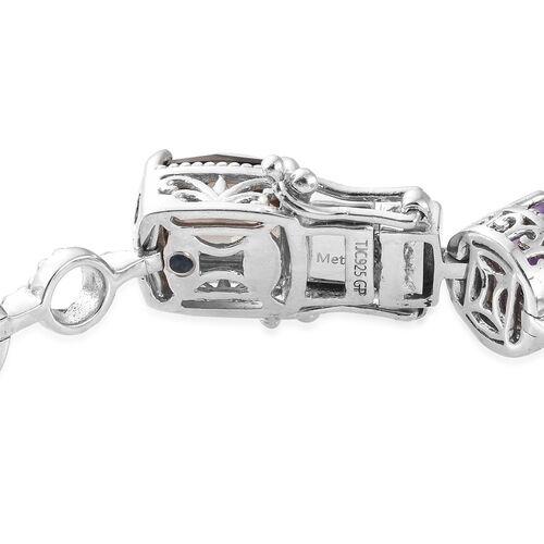 GP Brazilian Smoky Quartz (Cush), Amethyst and Multi Gemstone Bracelet (Size 7.5) in Platinum Overlay Sterling Silver 22.000 Ct, Silver wt. 20.28 Gms